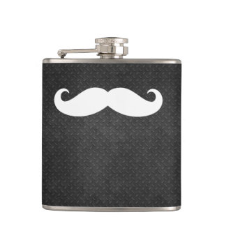 Cool Metallic Steel Look with Funny White Mustache Hip Flask