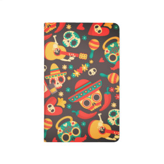 Cool mexican skull head party mode pocket journal