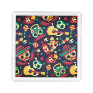 Cool mexican skull head party texture design acrylic tray