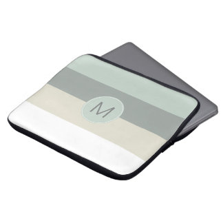 Cool Minimalist Stripes Pattern with Your Monogram Laptop Sleeve