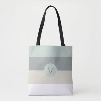 Cool Minimalist Stripes Pattern with Your Monogram Tote Bag
