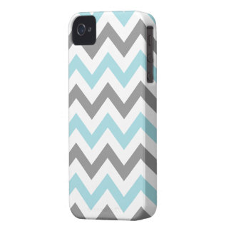 Cool Mint and Gray Chevron Case-Mate iPhone 4 Cases