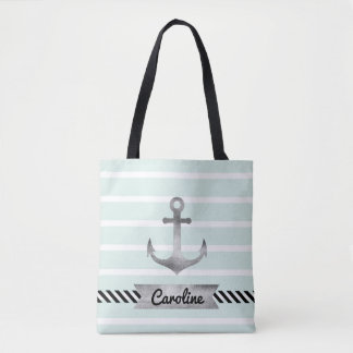 Cool Mint Stripes Watercolor Anchor Personalized Tote Bag