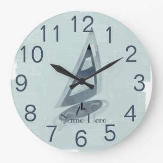 Cool Mint  Surfing Kids Teens Add Name Wall  Clock