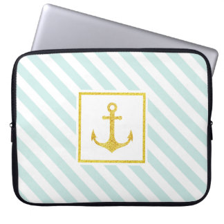 Cool Mint White Stripes Golden Anchor Laptop Computer Sleeve
