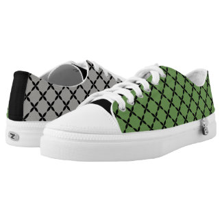 Cool Mismatched Gray & Green Gingham Low-Top Sneakers