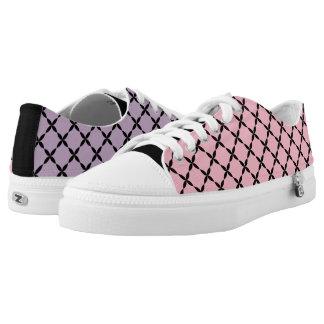 Cool Mismatched Pink & Purple Gingham Low-Top Sneakers