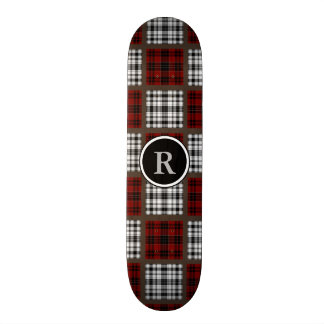 Cool Mixed Plaids Red Black & White Skateboards