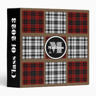 Cool Mixed Plaids w/Monogram & Name Binder