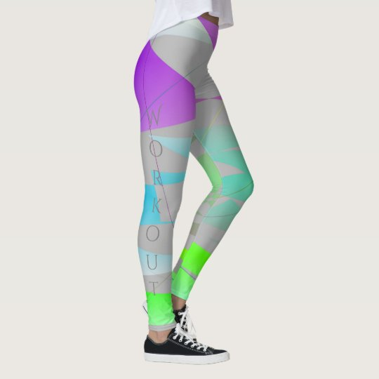 Cool Modern Abstract | Purple, Green, Grey Leggings