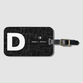 cool, modern and personalized b&w bag tag