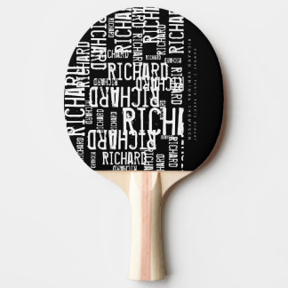 cool / modern b/w table-tennis-paddle with name ping pong paddle