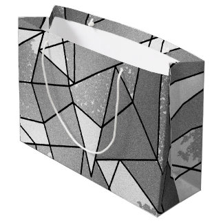 Cool Modern Black and Gray Distressed Geometric Large Gift Bag