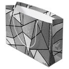 Cool Modern Black and Grey Distressed Geometric Large Gift Bag