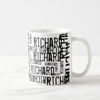 cool & modern black & white name, typography coffee mug