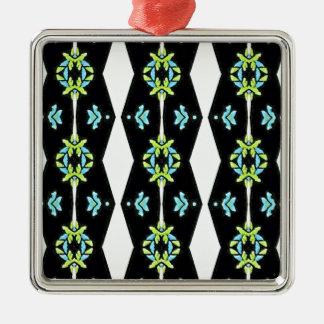 Cool Modern Black White Teal Pattern Silver-Colored Square Ornament
