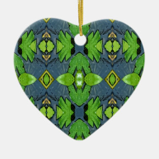 Cool Modern Blue Green Tribal Pattern Ceramic Heart Ornament
