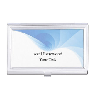 Cool Modern Blue Swirl with White Business Card Holder