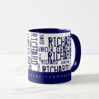 cool & modern blue typography (pattern of names) mug