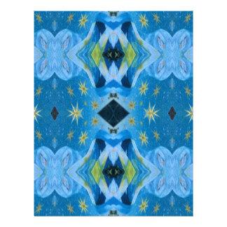 Cool Modern Blues Lime Starry pattern Letterhead