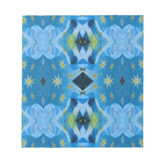 Cool Modern Blues Lime Starry pattern Notepad