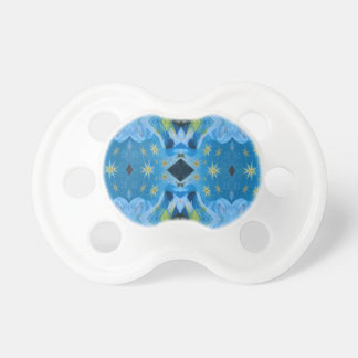 Cool Modern Blues Lime Starry pattern Pacifier