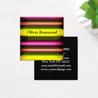 Cool Modern Bright Neon Colors Square Business Card