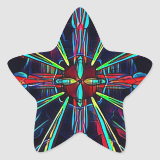 Cool Modern Colorful Neon Pattern Star Sticker