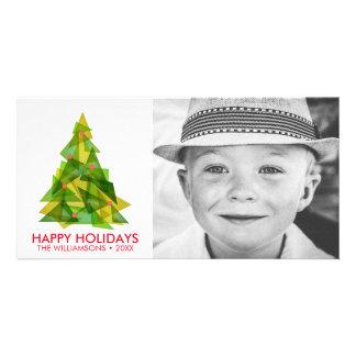 Cool Modern Geometric Christmas Tree Holiday Photo Photo Cards
