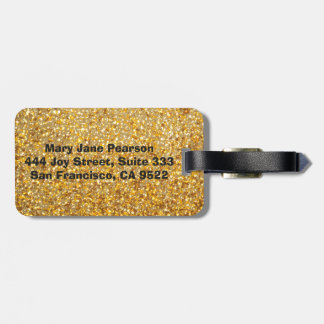 COOL MODERN GOLD WITH GLITTER LUGGAGE TAG
