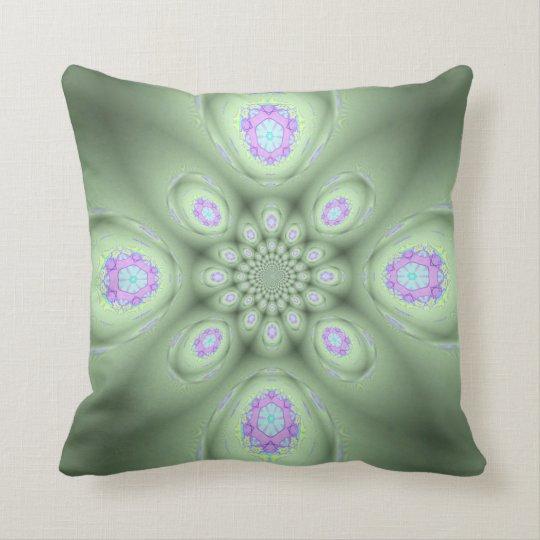 Cool Modern Green Abstract Lavender Petals Throw Pillow