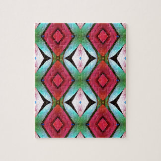 Cool Modern Magenta Teal  Pattern Jigsaw Puzzle