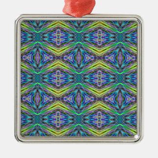 Cool Modern Multi colored Tribal Pattern Silver-Colored Square Ornament