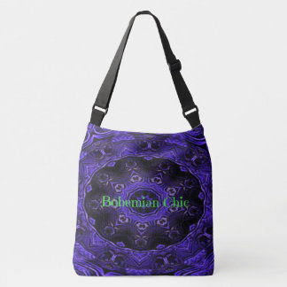 Cool Modern Neon Blue Purple Mandala Crossbody Bag