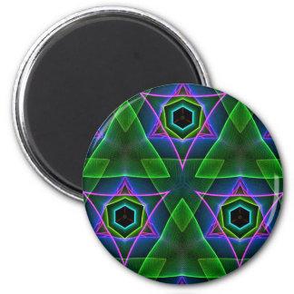Cool Modern Neon Triangular Layers 2 Inch Round Magnet