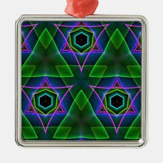 Cool Modern Neon Triangular Layers Silver-Colored Square Ornament