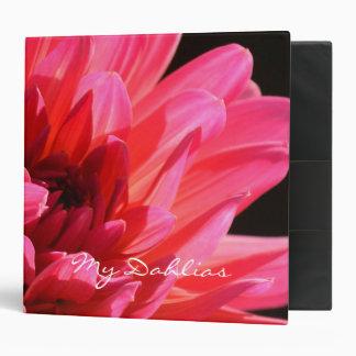 Cool Modern Pink Dahlia Florists Garden Journal 3 Ring Binder