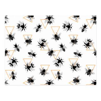 Cool Modern Queen Bees Pattern Postcard