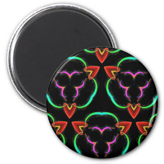 Cool Modern Red Teal Funky Pattern 2 Inch Round Magnet