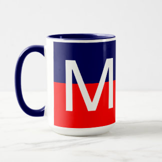 Cool Modern Red White and Blue Monogram Mug