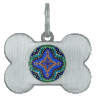 Cool Modern Royal Blue Artistic Pattern Pet Tag