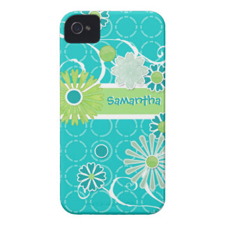 Cool Modern Scroll Swirl Flower Circle Dot Pattern iPhone 4 Case-Mate Case