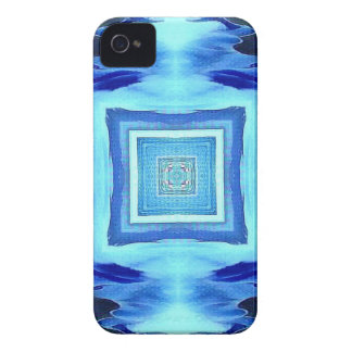 Cool Modern Shades of Blue Patterns Shapes iPhone 4 Cover