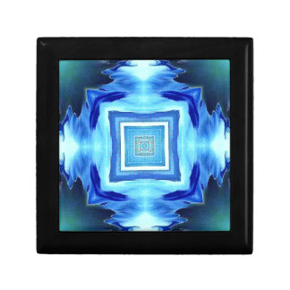 Cool Modern Shades of Blue Patterns Shapes Trinket Boxes