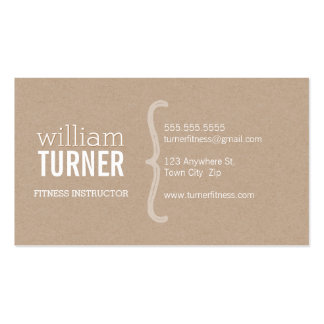 COOL MODERN simple text minimal trendy eco kraft Business Card