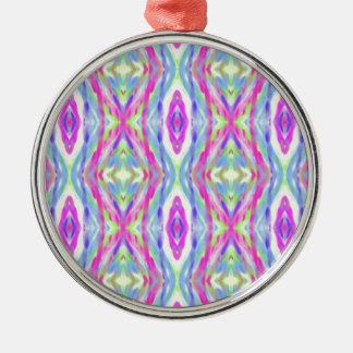 Cool modern Spring Pastel Tribal Pattern Silver-Colored Round Ornament