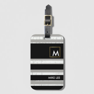 cool / modern, striped blk/white luggage tag