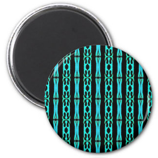 Cool Modern Turquoise Black Tribal Pattern 2 Inch Round Magnet