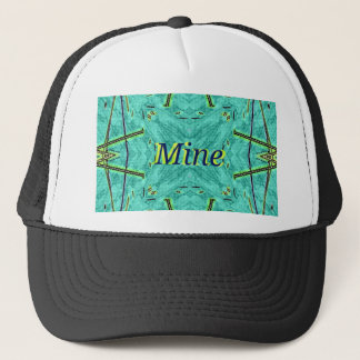 "Cool Modern Turquoise ""Mine"" Trucker Hat"