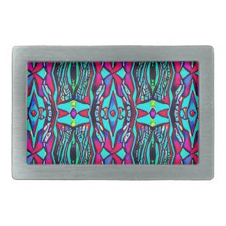 Cool Modern Vibrant colored Pattern Rectangular Belt Buckle
